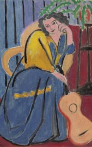 Girl in yelllow and blue with guitar